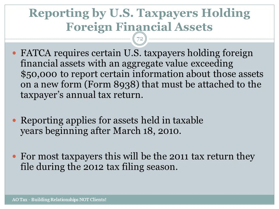 Reporting by U.S. Taxpayers Holding Foreign Financial Assets