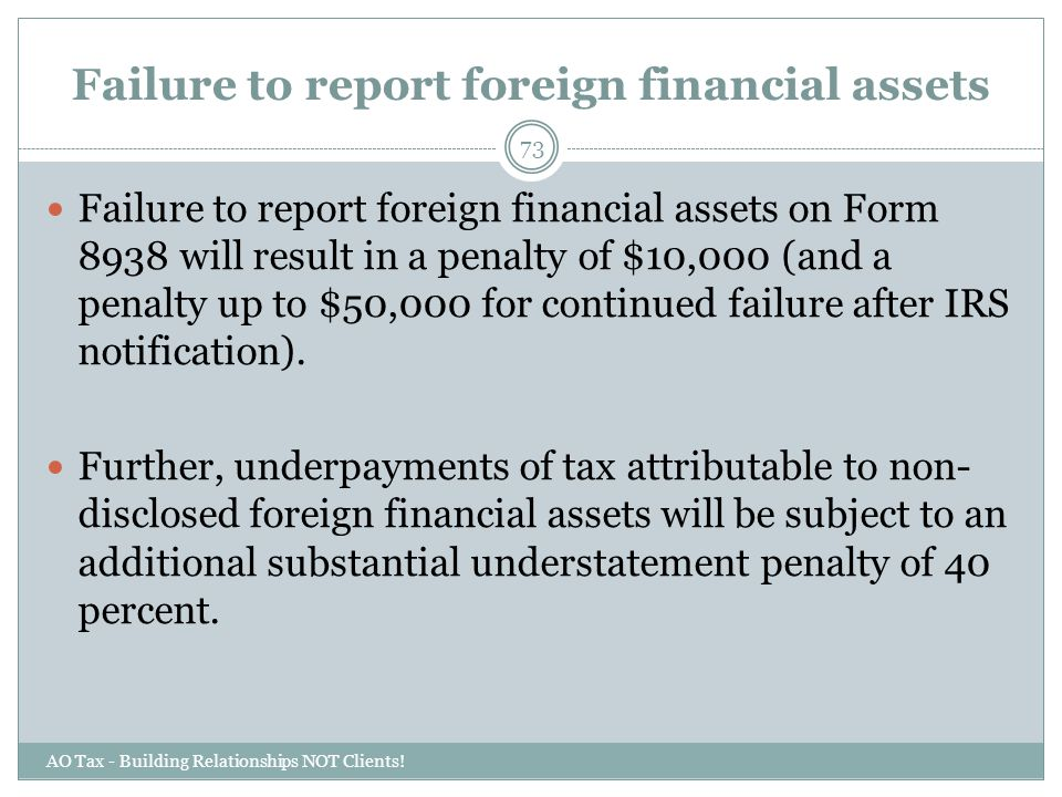 Failure to report foreign financial assets
