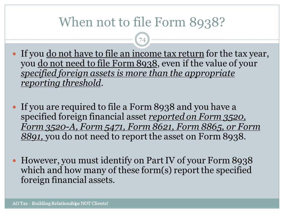 When not to file Form 8938