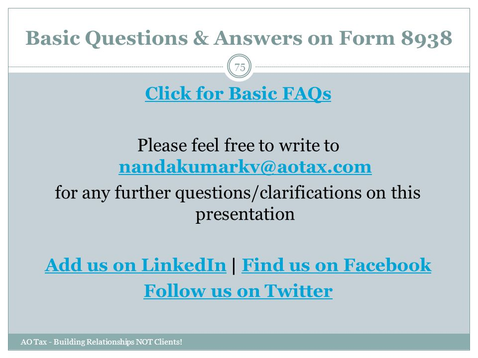 Basic Questions & Answers on Form 8938