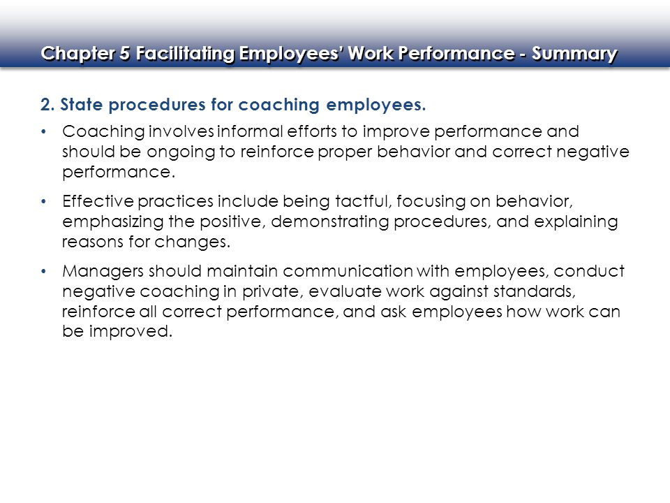 2. State procedures for coaching employees.