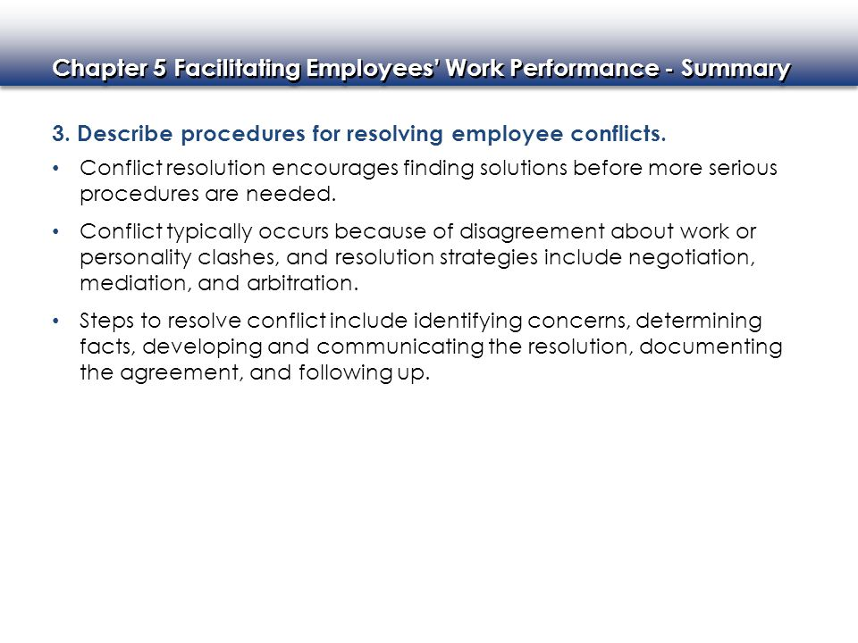 3. Describe procedures for resolving employee conflicts.