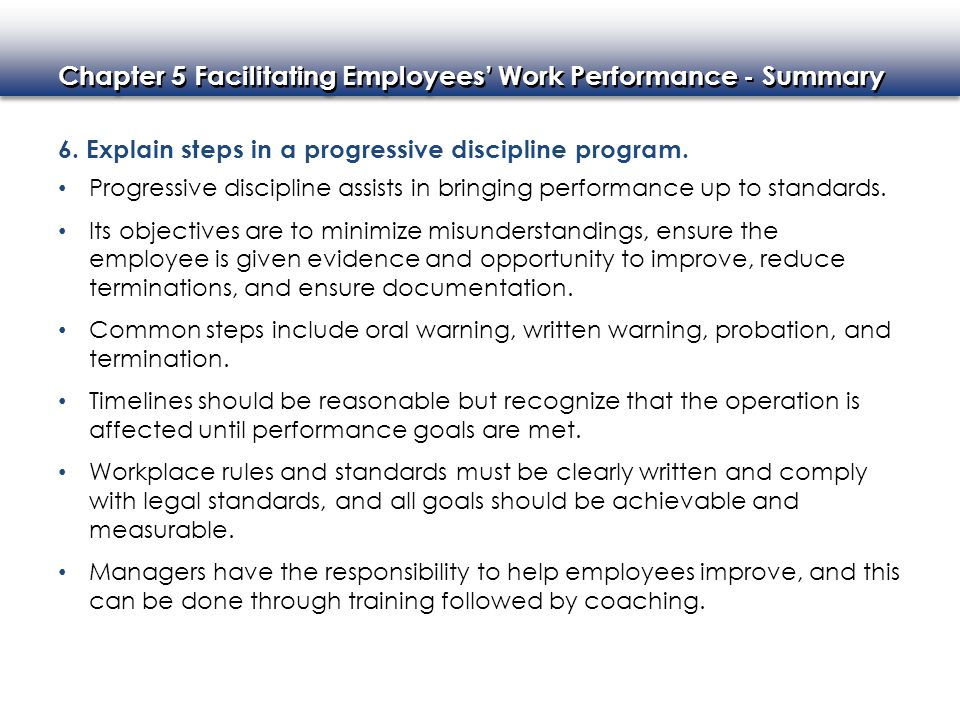 6. Explain steps in a progressive discipline program.