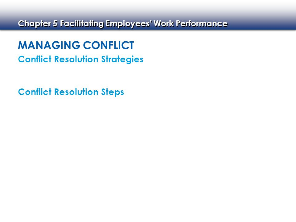 Managing Conflict Conflict Resolution Strategies