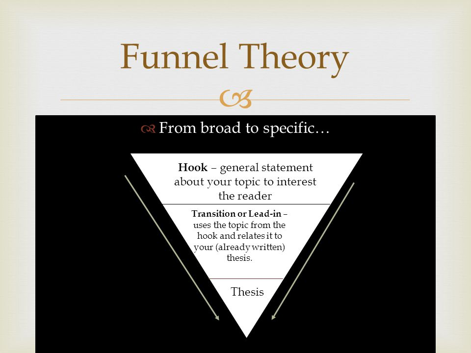 Funnel Theory From broad to specific…