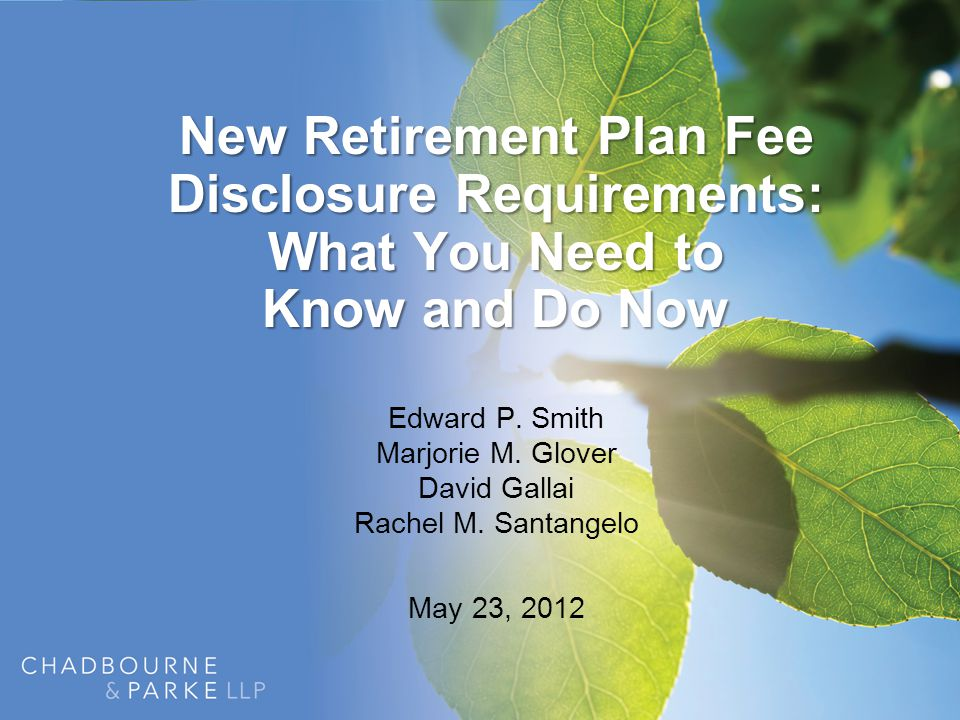 Agenda Overview of Recent DOL Fee Disclosure Initiatives