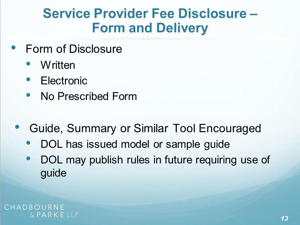 Service Provider Fee Disclosure – Form and Delivery