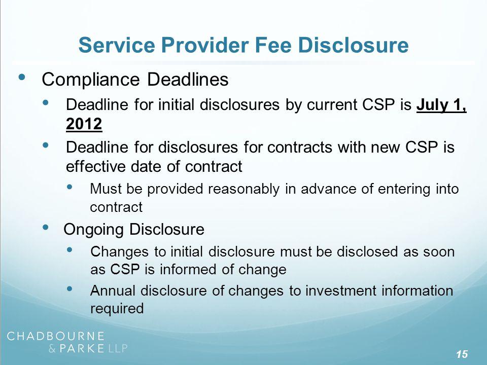 Service Provider Fee Disclosure