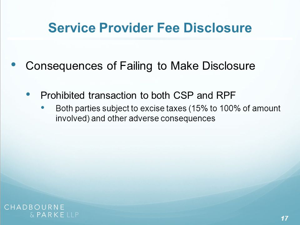 Service Provider Fee Disclosure – PT Class Exemption
