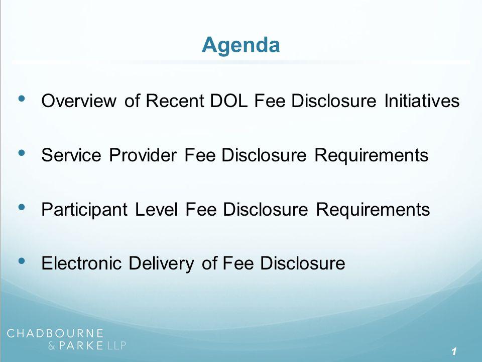 Recent DOL Fee Disclosure Initiatives