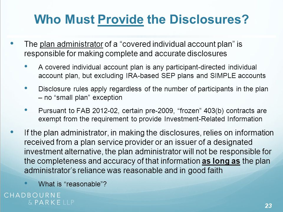 Who Must Receive the Disclosures