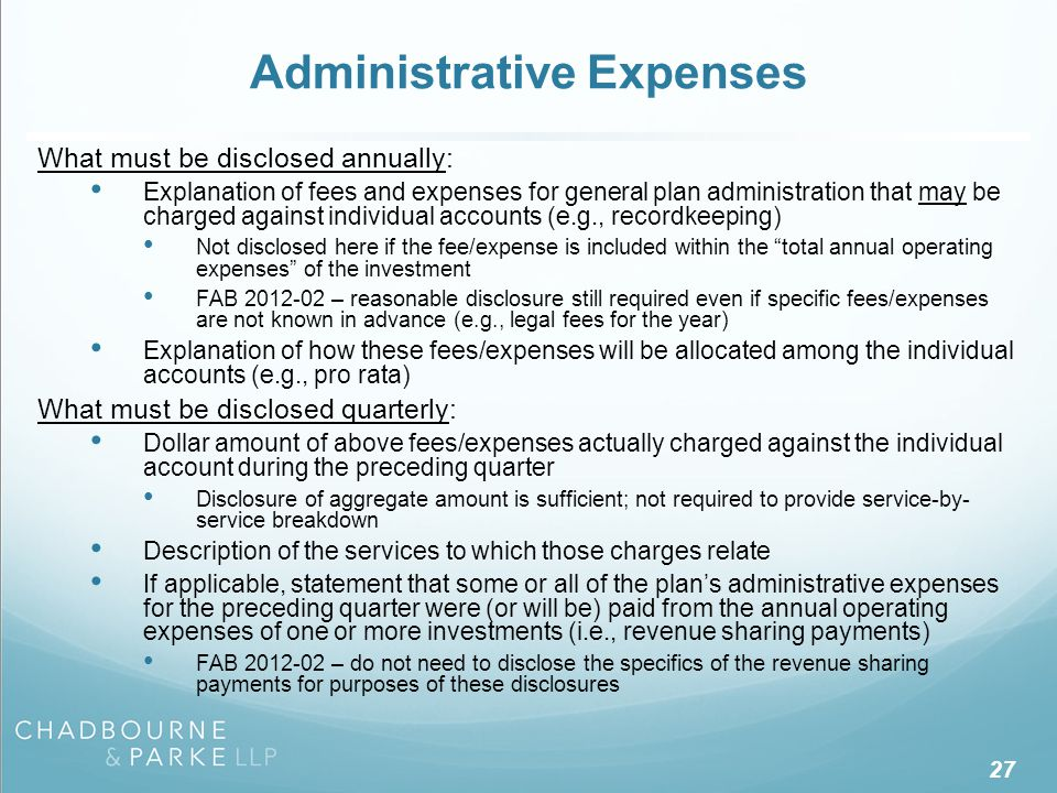 Individual Expenses What must be disclosed annually: