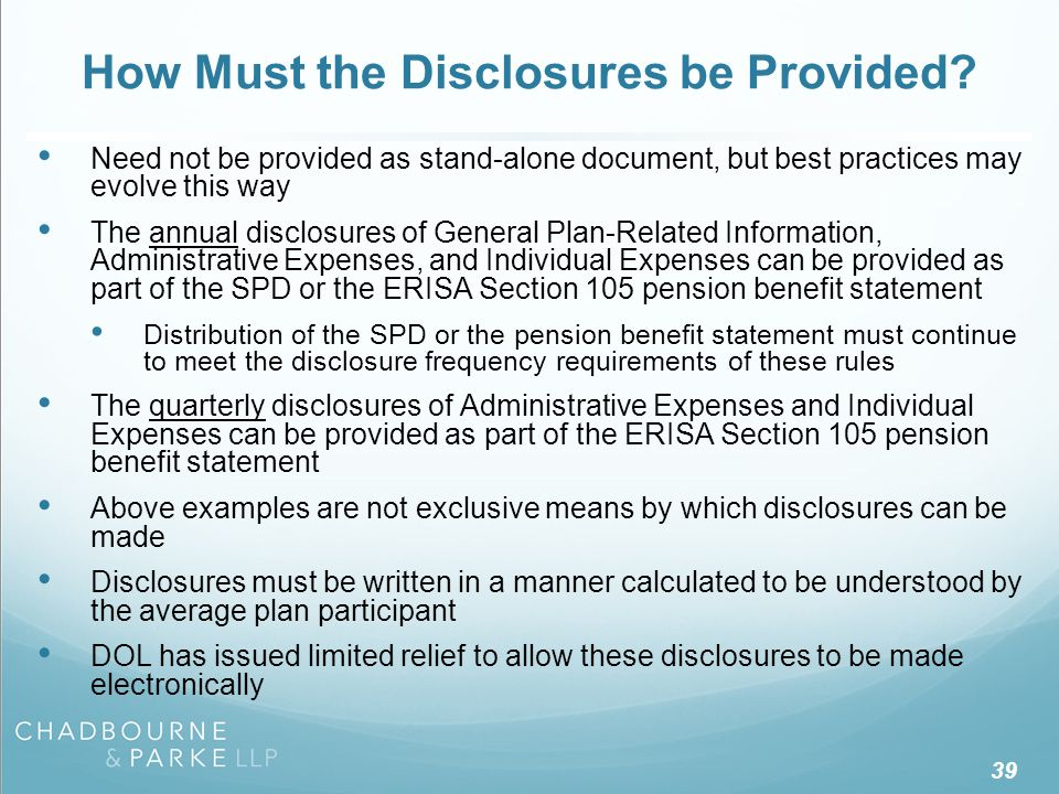 When Must the Disclosures be Provided