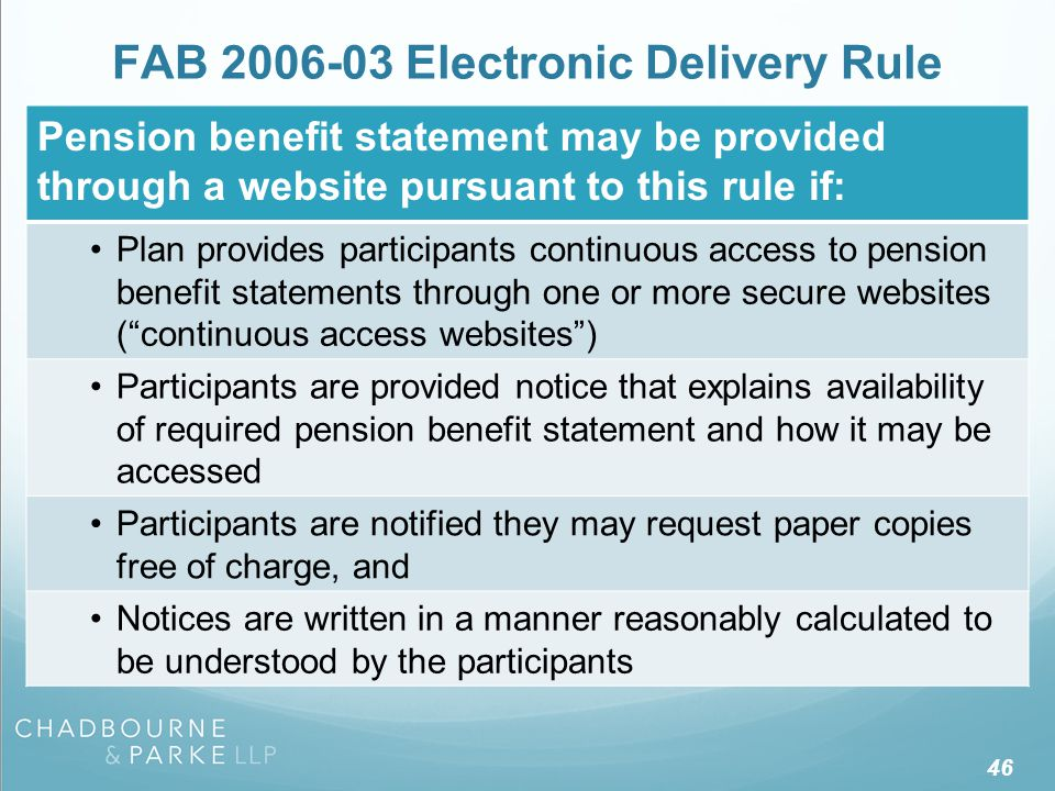 Disclosures Provided Separately From Pension Benefit Statement