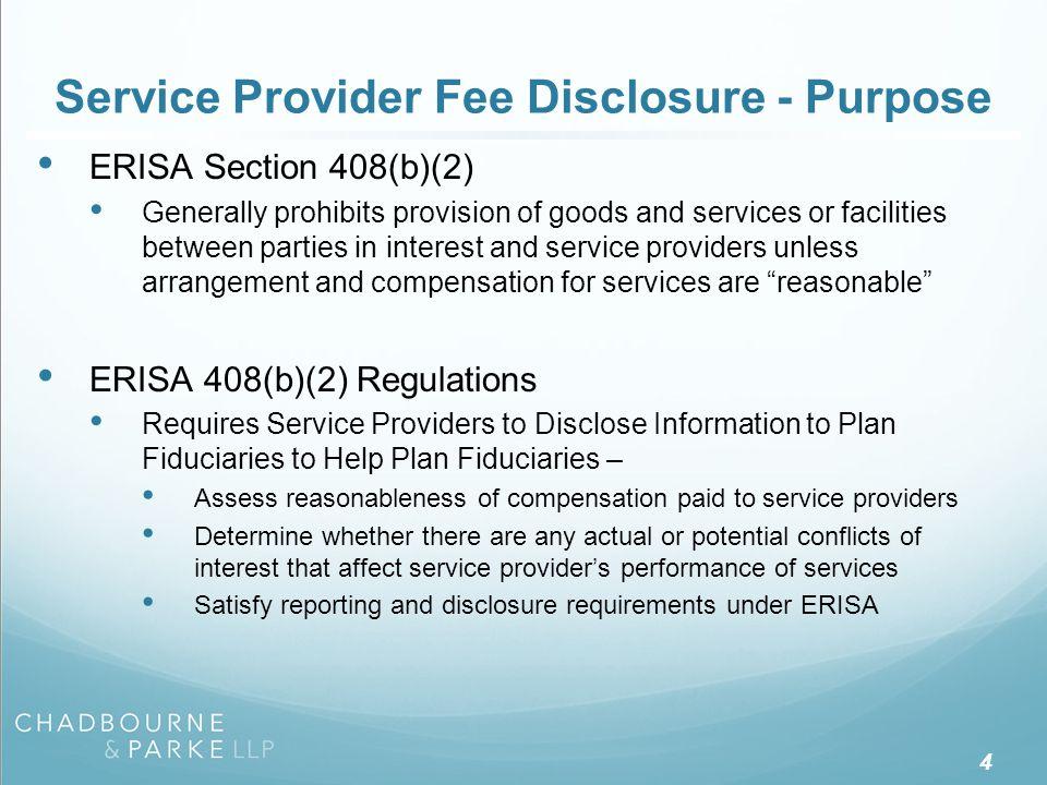 Service Provider Fee Disclosure - History