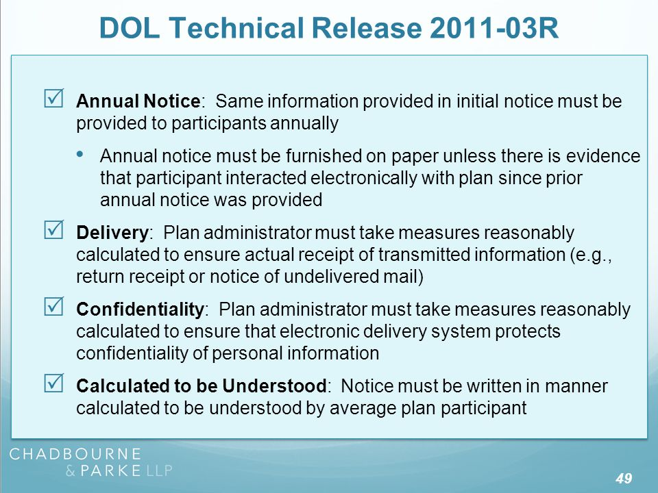 DOL Technical Release 2011-03R
