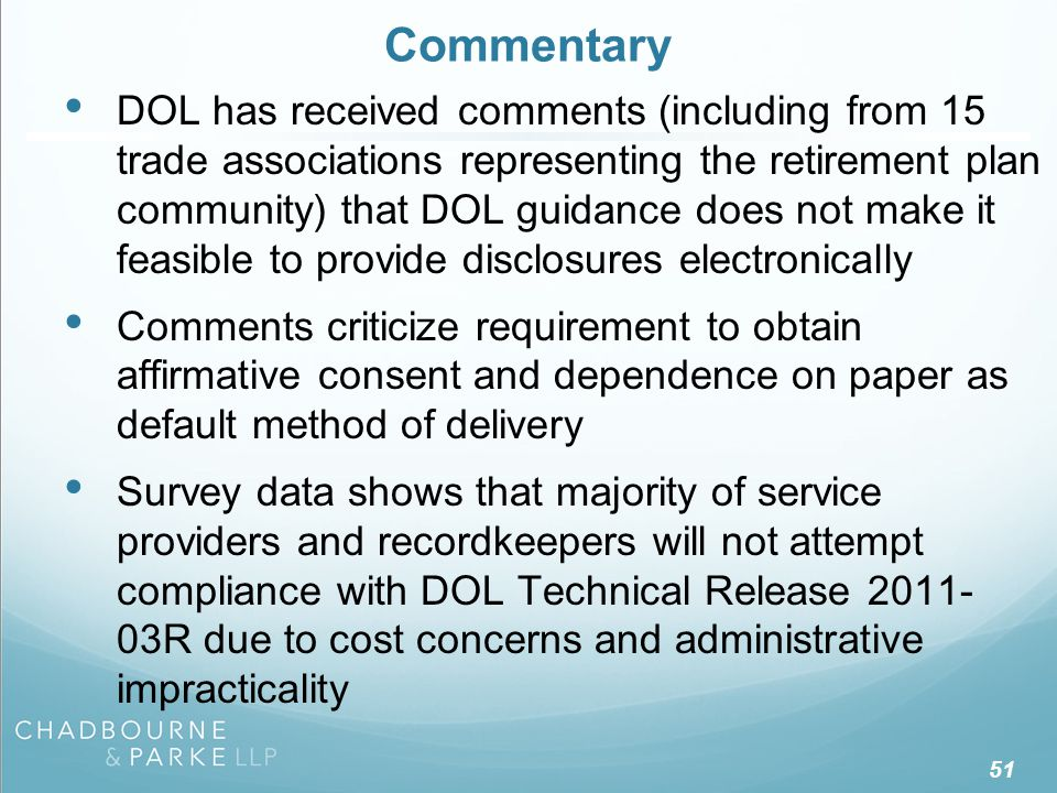 Links to DOL Guidance Final DOL Service Provider Fee Disclosure Regulations.
