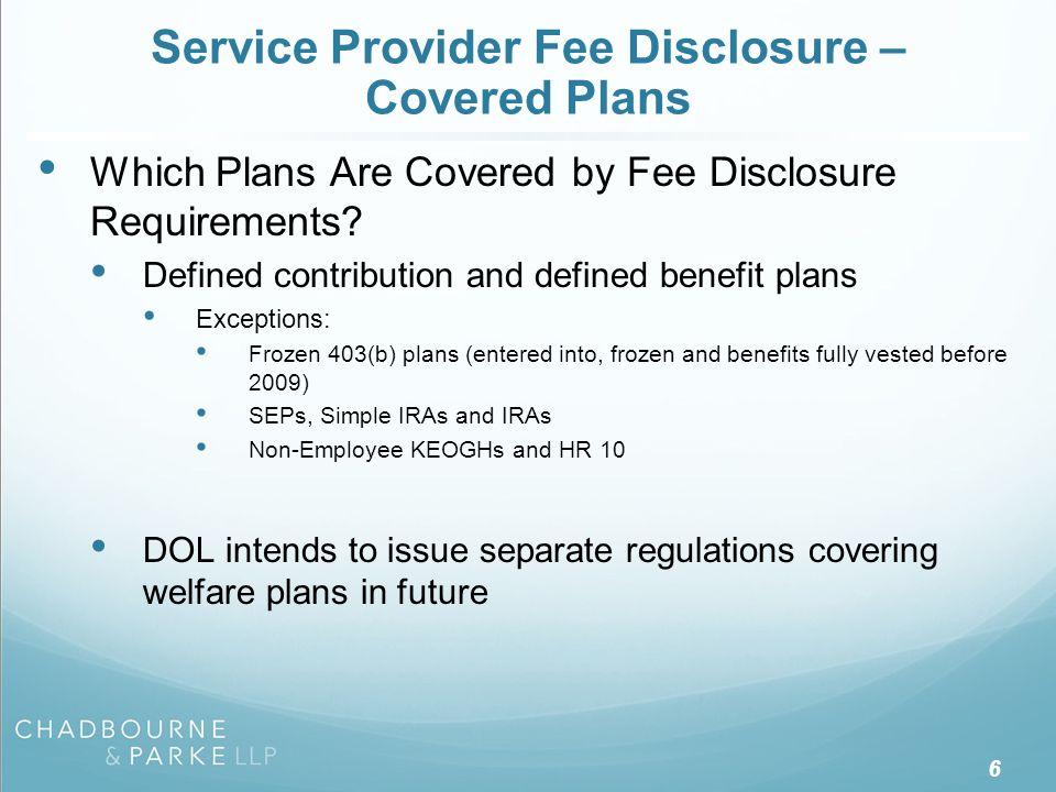 Service Provider Fee Disclosure – Covered Service Providers