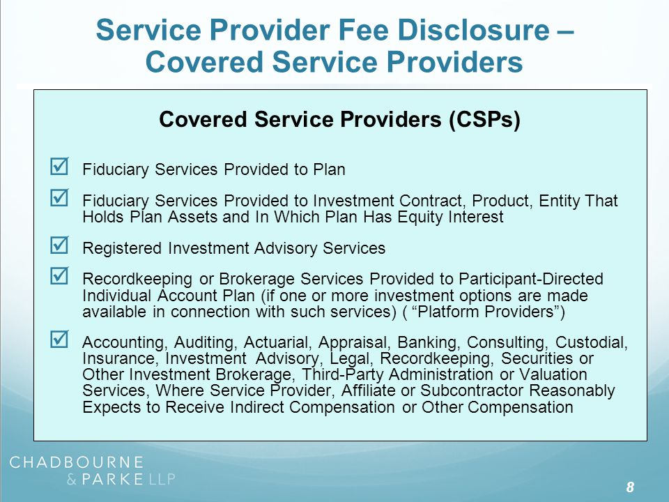 Service Provider Fee Disclosure – Required Disclosure