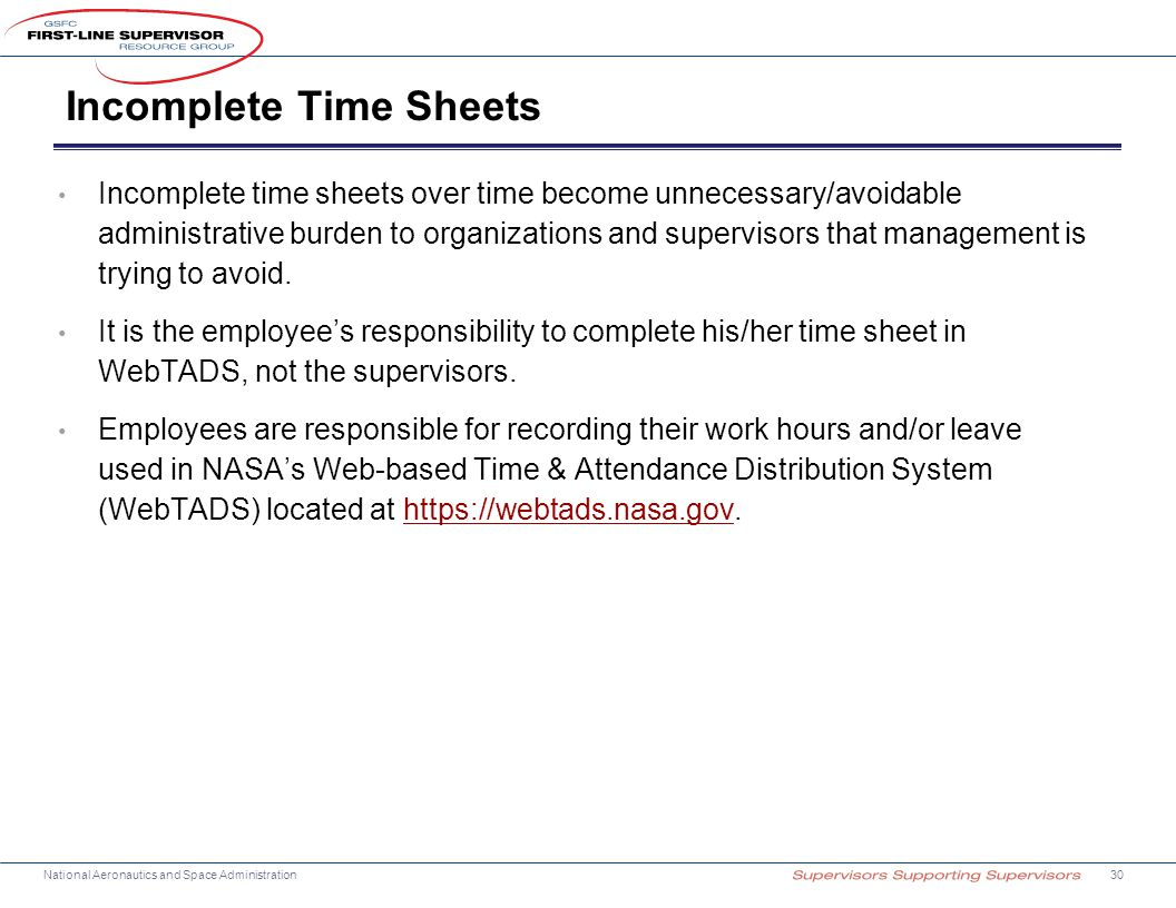 Incomplete Time Sheets