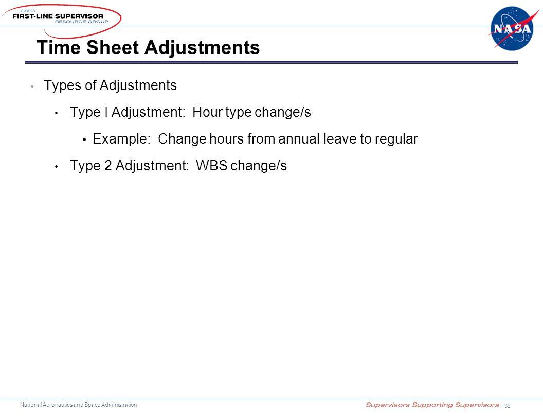 Time Sheet Adjustments