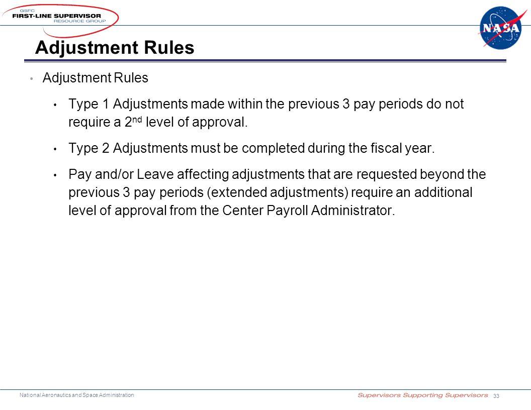 Adjustment Rules Adjustment Rules