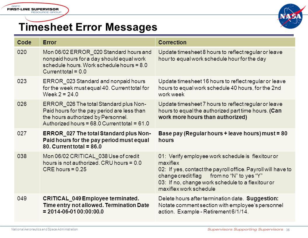 Timesheet Error Messages