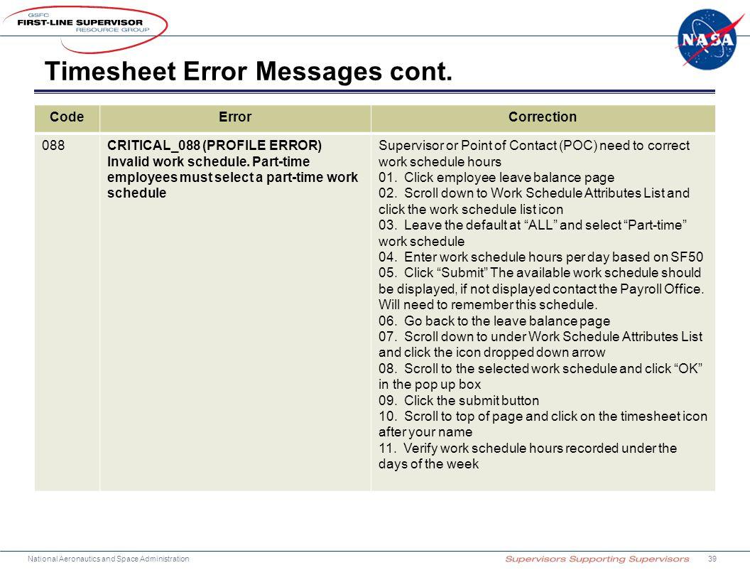 Timesheet Error Messages cont.