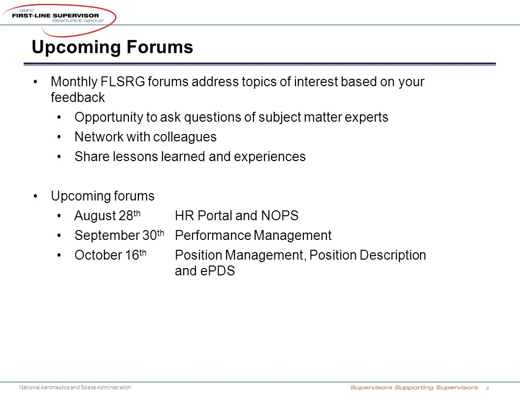 Upcoming Forums Monthly FLSRG forums address topics of interest based on your feedback. Opportunity to ask questions of subject matter experts.
