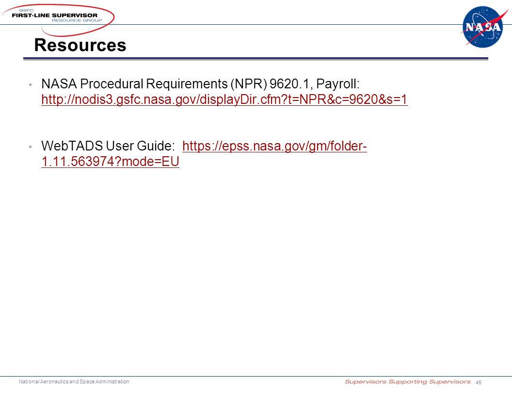 Resources NASA Procedural Requirements (NPR) 9620.1, Payroll: http://nodis3.gsfc.nasa.gov/displayDir.cfm t=NPR&c=9620&s=1.