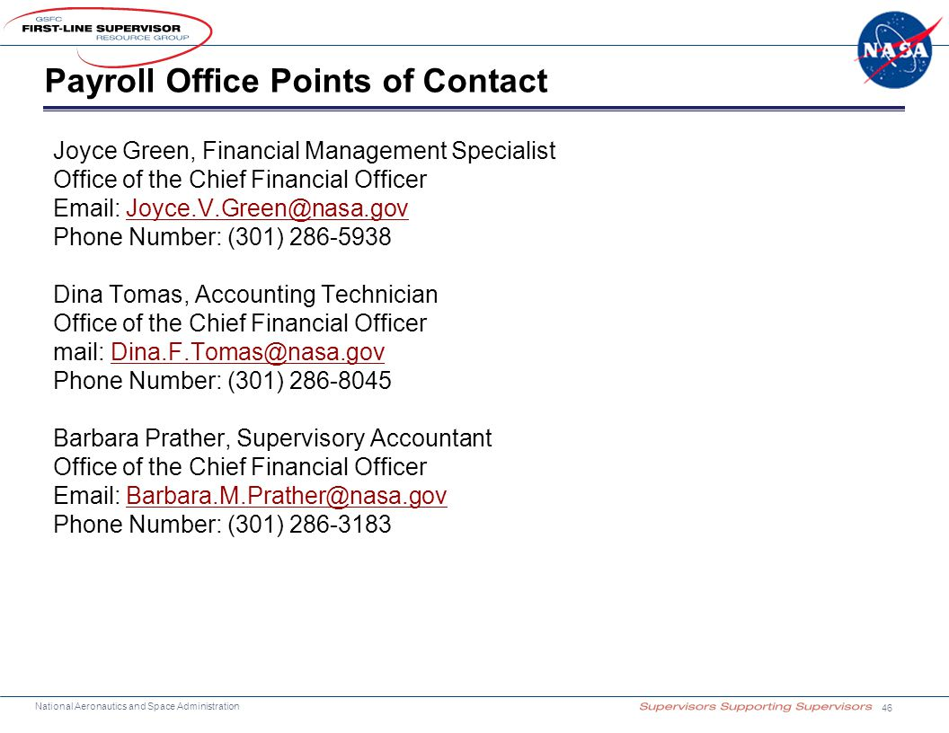 Payroll Office Points of Contact