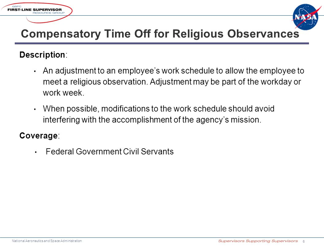 Compensatory Time Off for Religious Observances