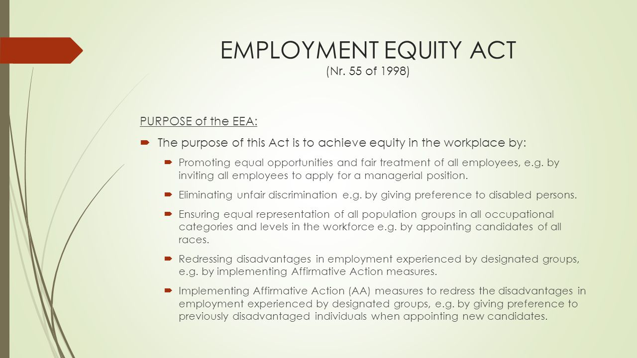 EMPLOYMENT EQUITY ACT (Nr. 55 of 1998)