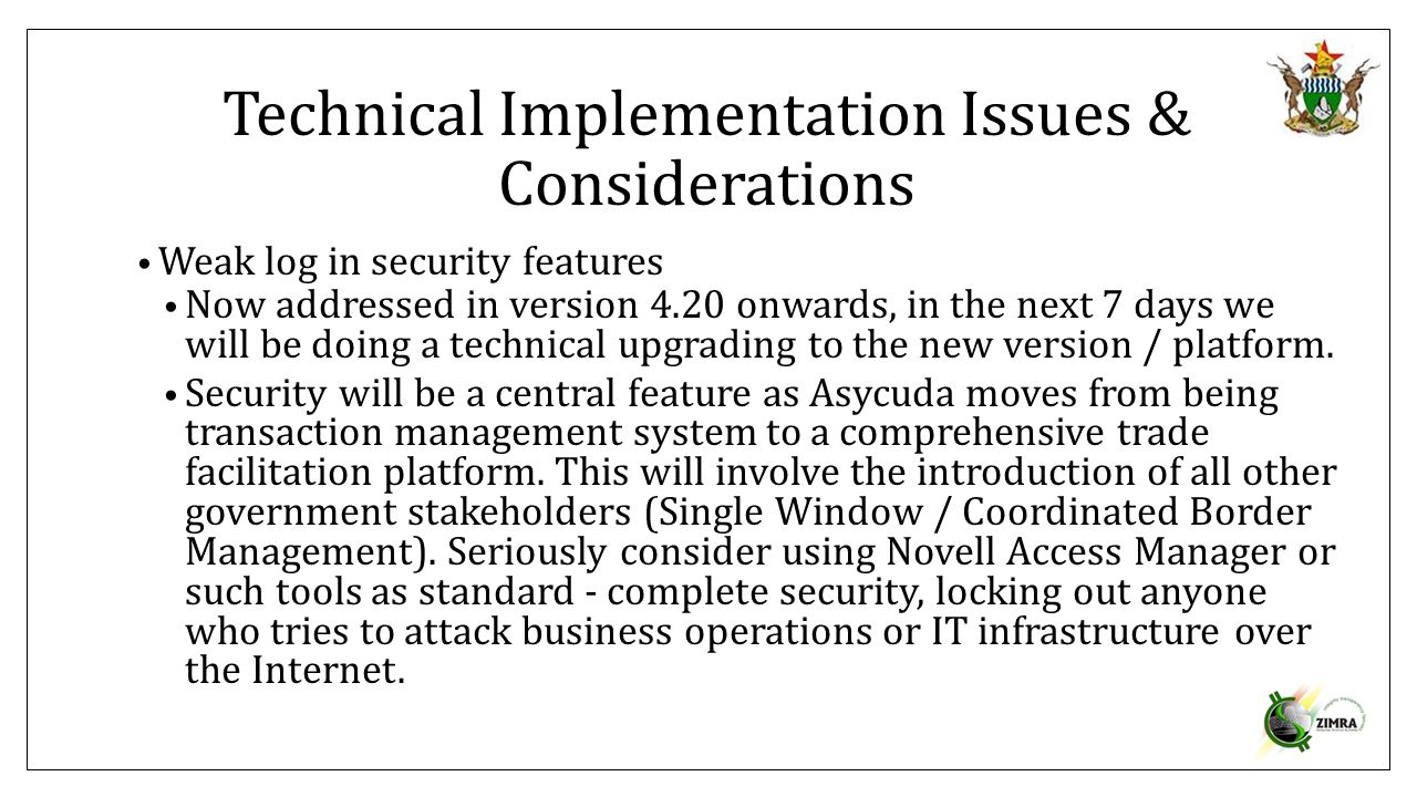 Technical Implementation Issues & Considerations