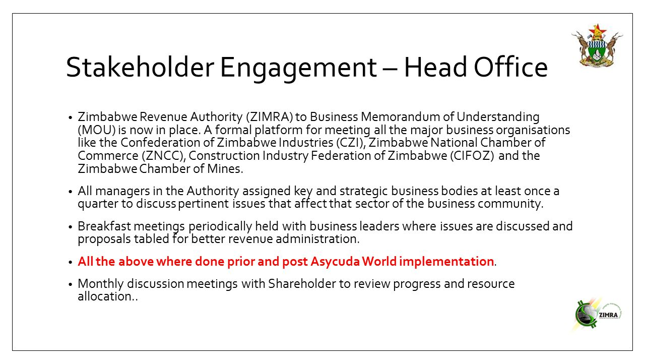 Stakeholder Engagement – Head Office