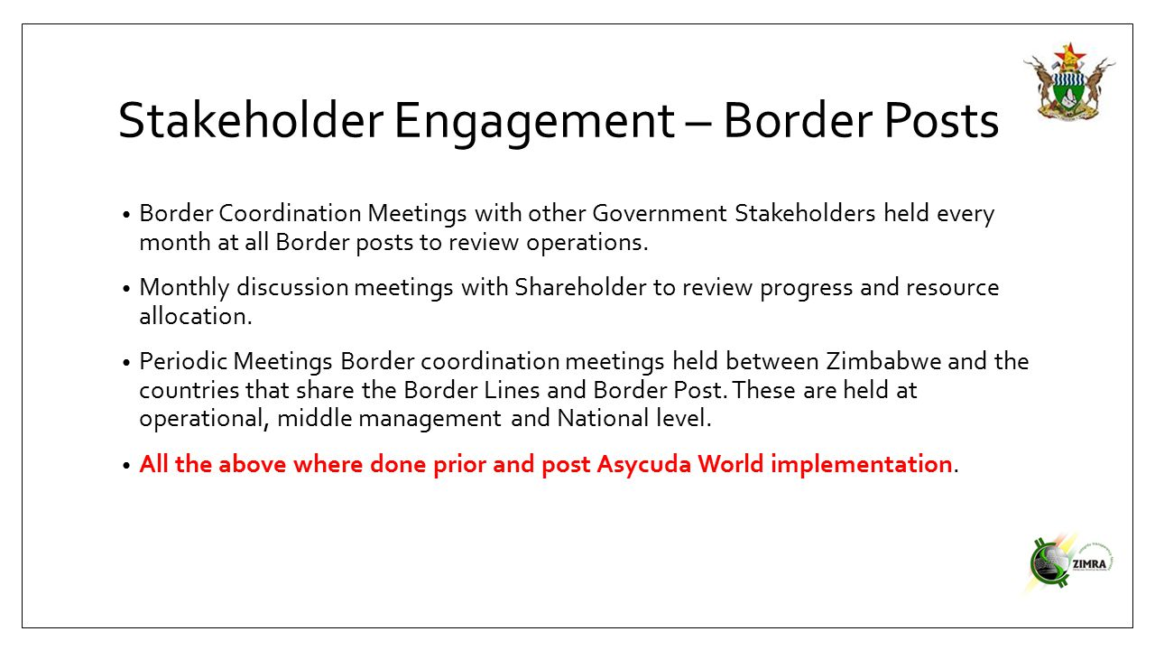 Stakeholder Engagement – Border Posts