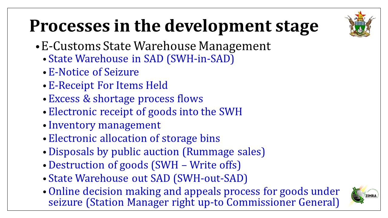 Processes in the development stage