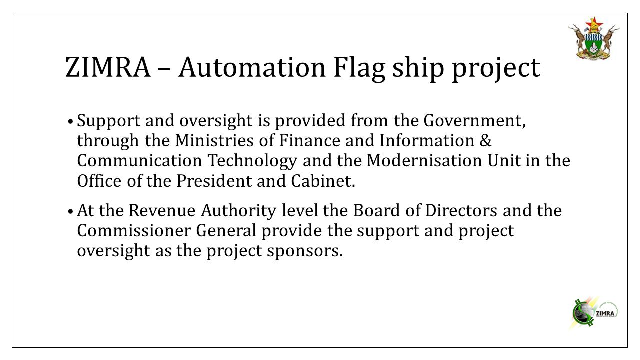 ZIMRA – Automation Flag ship project