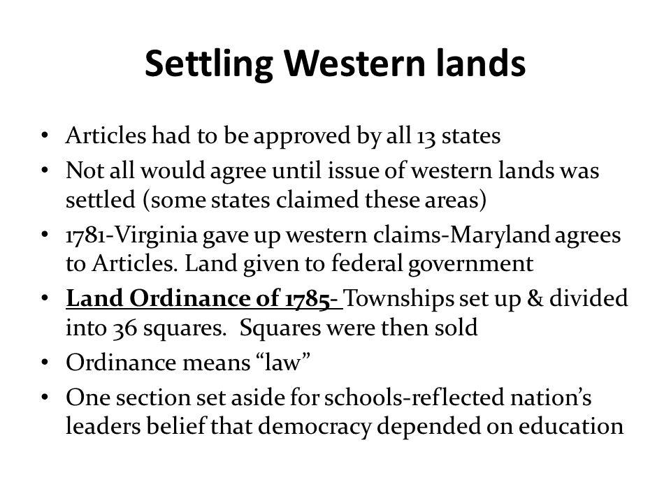 Settling Western lands