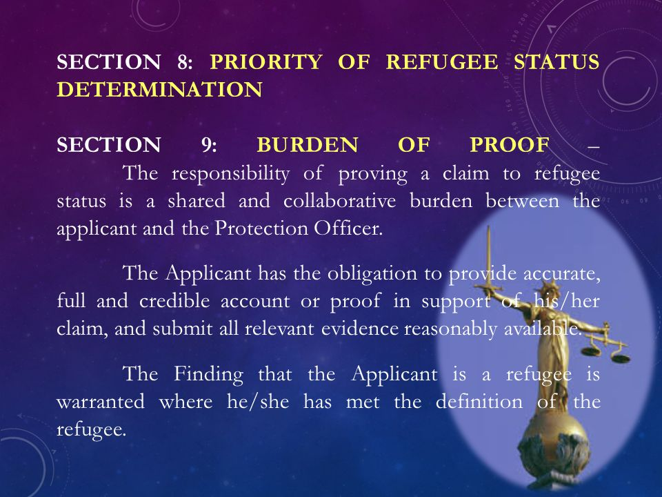 SECTION 8: PRIORITY OF REFUGEE STATUS DETERMINATION