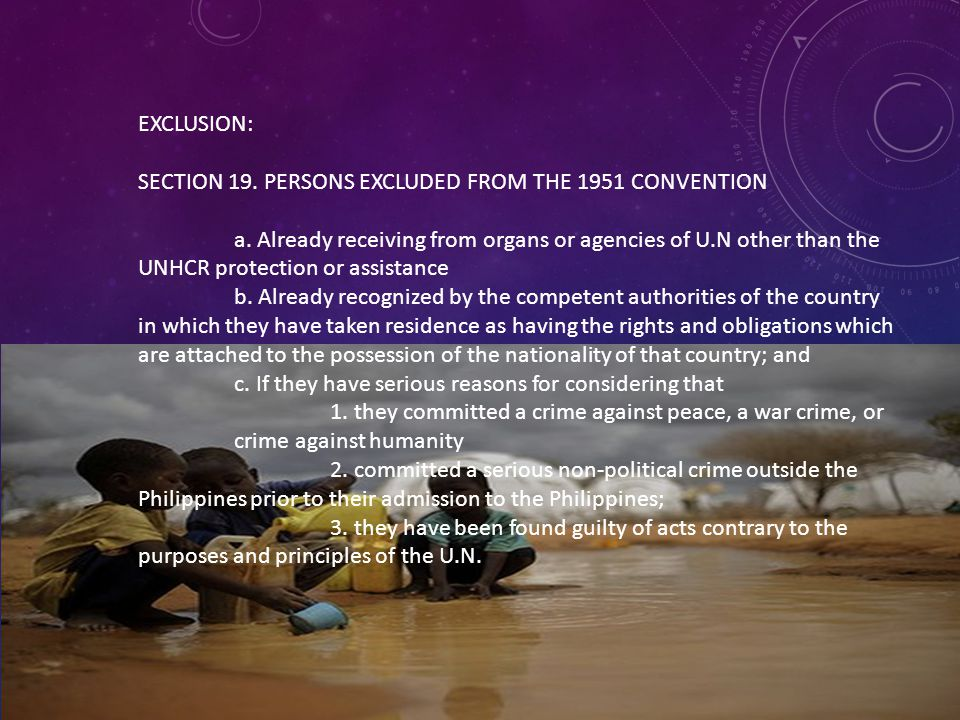 EXCLUSION: SECTION 19. PERSONS EXCLUDED FROM THE 1951 CONVENTION.