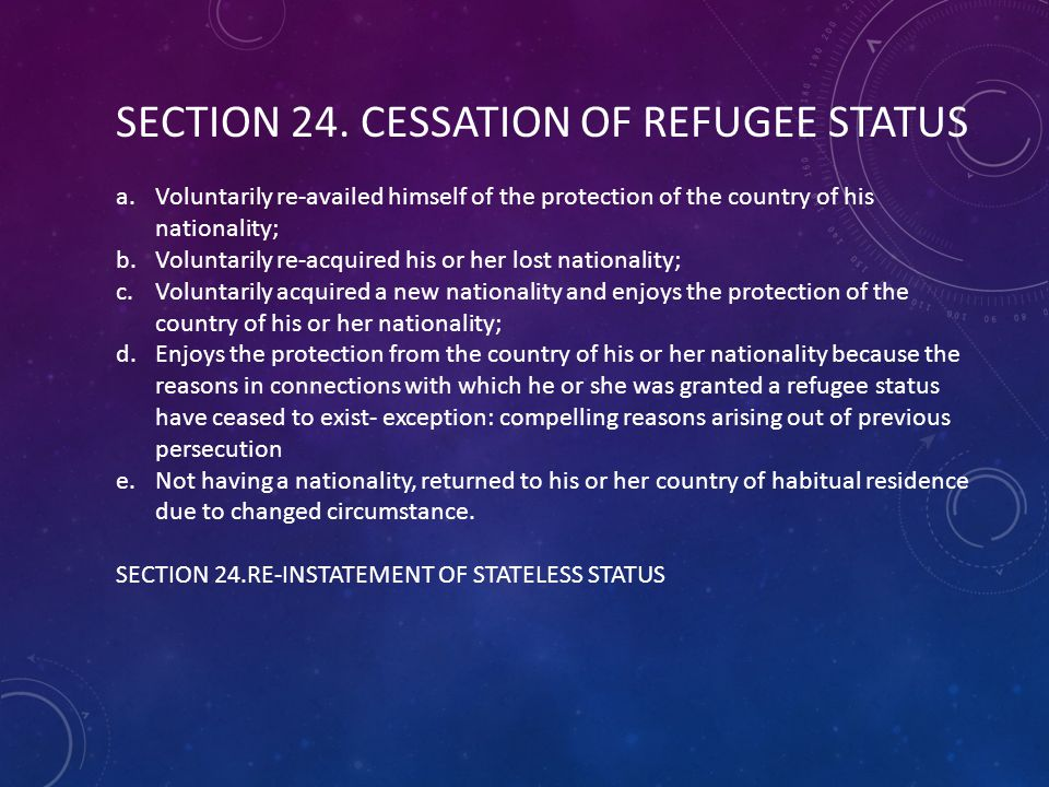 SECTION 24. CESSATION OF REFUGEE STATUS