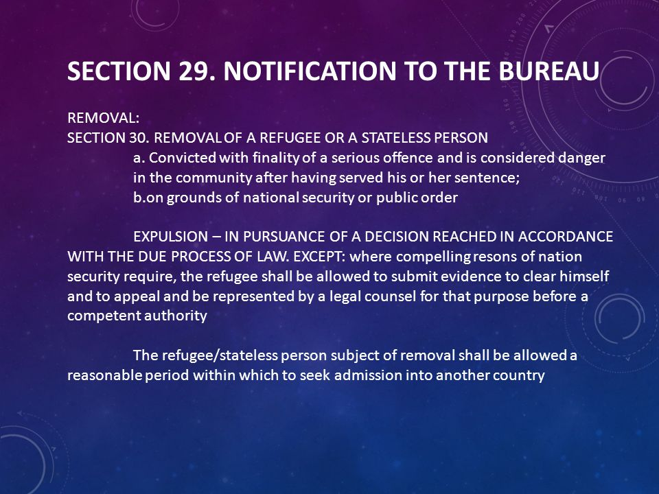 SECTION 29. NOTIFICATION TO THE BUREAU