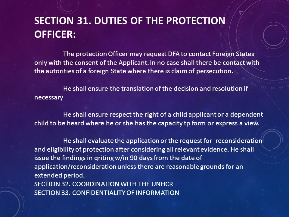 SECTION 31. DUTIES OF THE PROTECTION OFFICER: