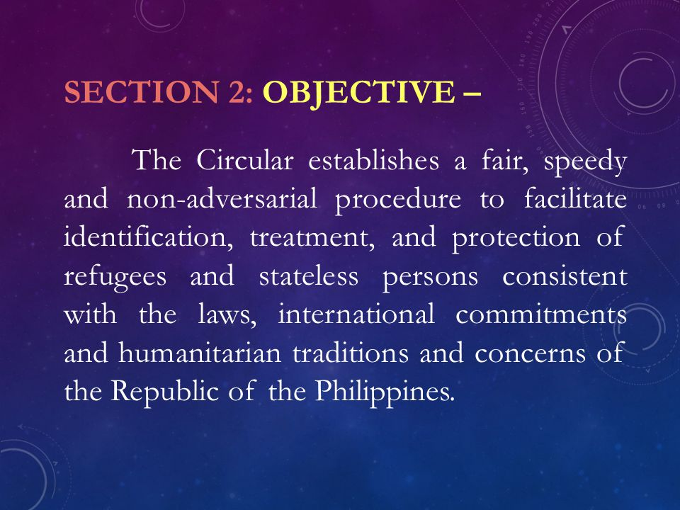 SECTION 2: OBJECTIVE –