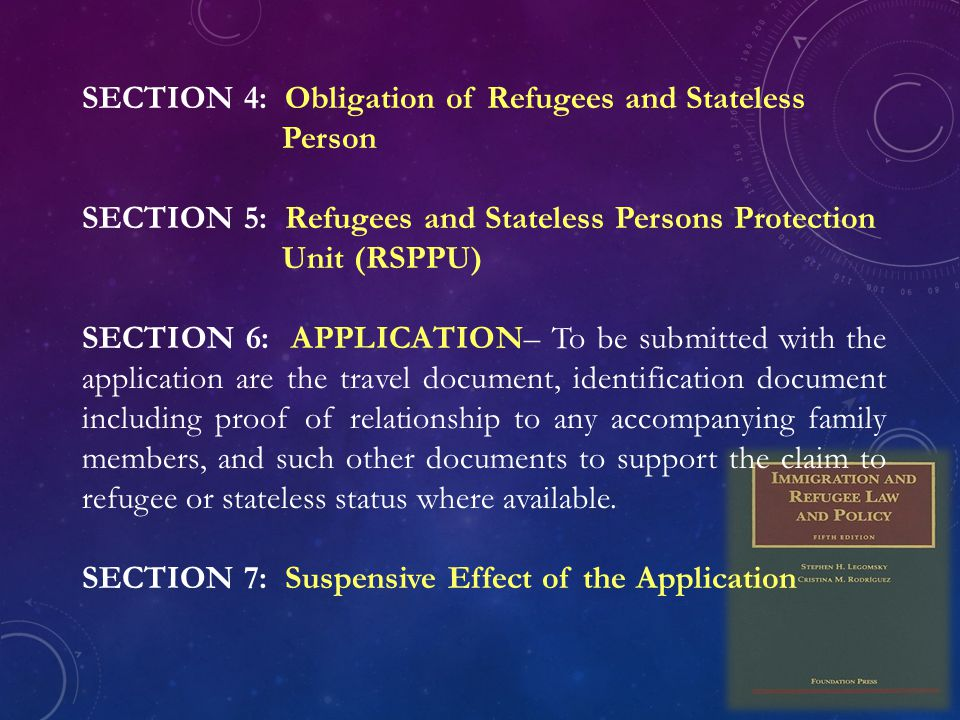 SECTION 4: Obligation of Refugees and Stateless