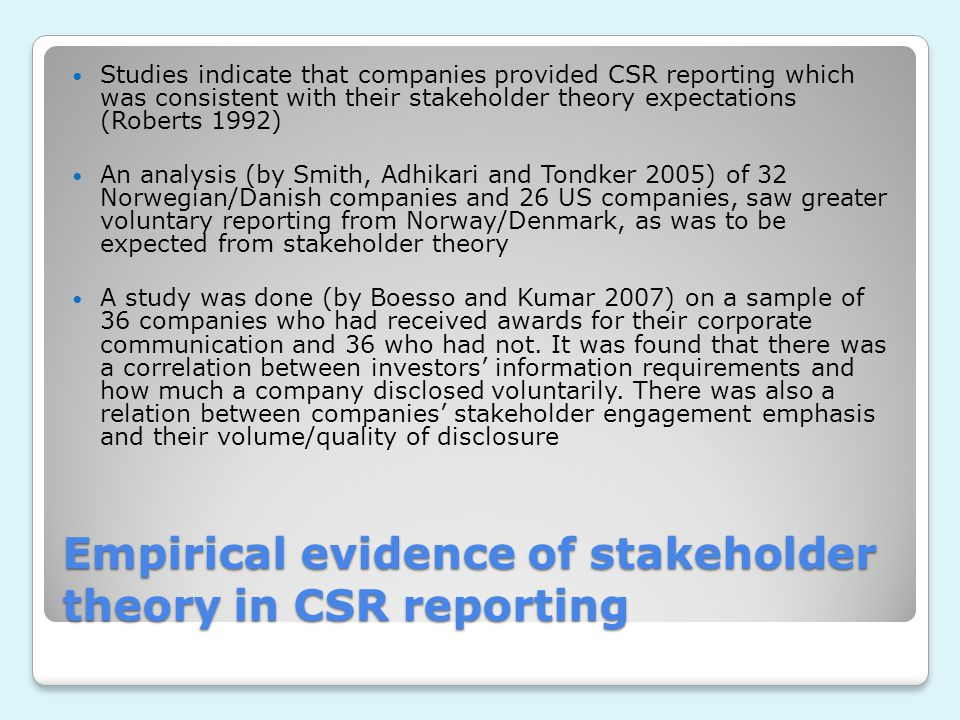 Empirical evidence of stakeholder theory in CSR reporting