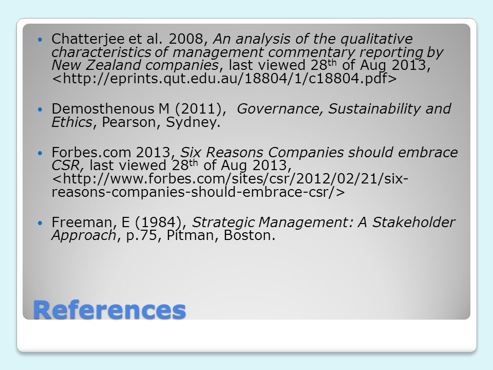 Chatterjee et al. 2008, An analysis of the qualitative characteristics of management commentary reporting by New Zealand companies, last viewed 28th of Aug 2013, <http://eprints.qut.edu.au/18804/1/c18804.pdf>