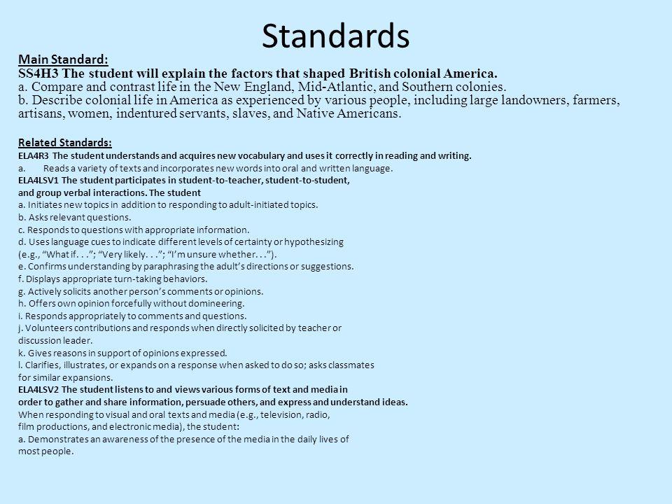 Standards Main Standard: