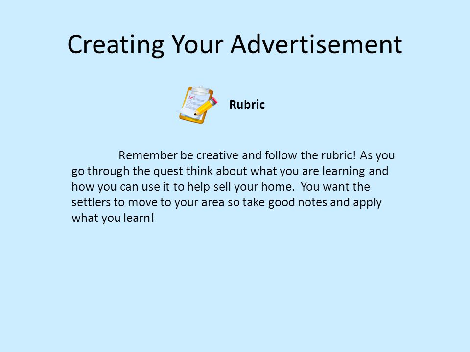 Creating Your Advertisement